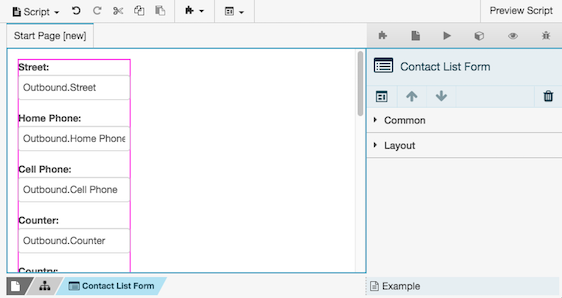 Figure shows a contact list form in edit mode.