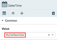 Figure shows date/time component configure to store its value in a variable named MyDateTime.
