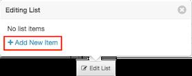 図は、リスト項目が追加されていない規定値の状態の [リストを編集中] ポップオーバーを示します