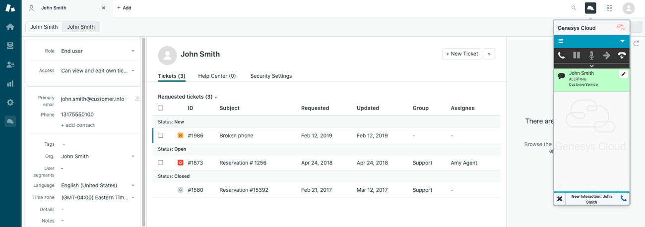 Screen pop user record for chats with Genesys Cloud for Zendesk