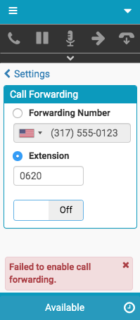 Error message about call forwarding to an extension