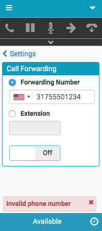 Error message about call forwarding to a phone number