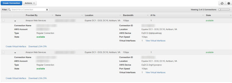 AWS Direct Connect connections