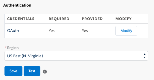 Authentication section in Shared Settings in Salesforce