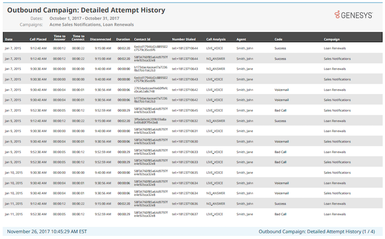 Outbound Campaign Detailed Attempt History report