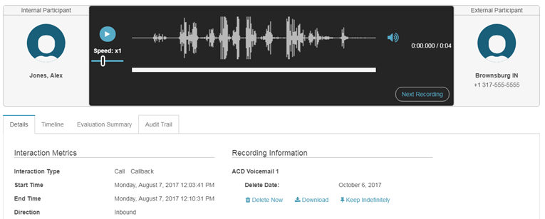 ACD voicemail detail