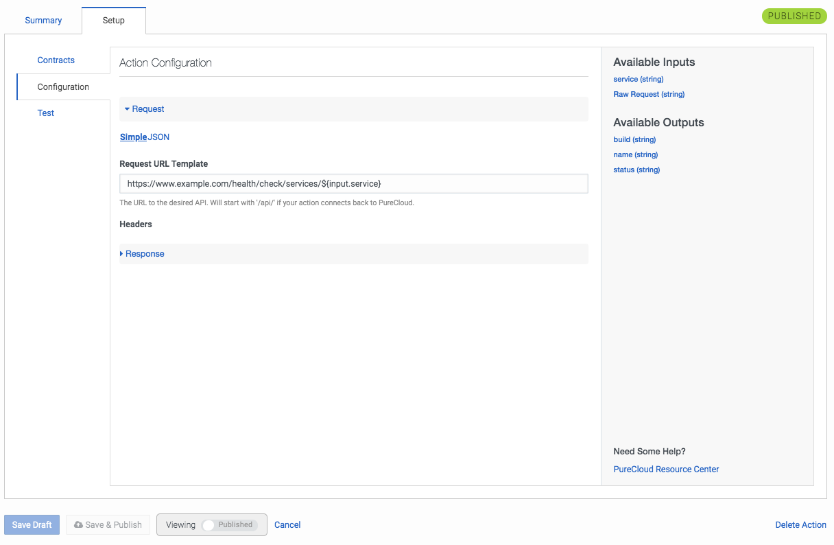 Genesys Cloudの[Manage Actions Setup(アクションの管理セットアップ)]タブ[Configuration(設定)]画面