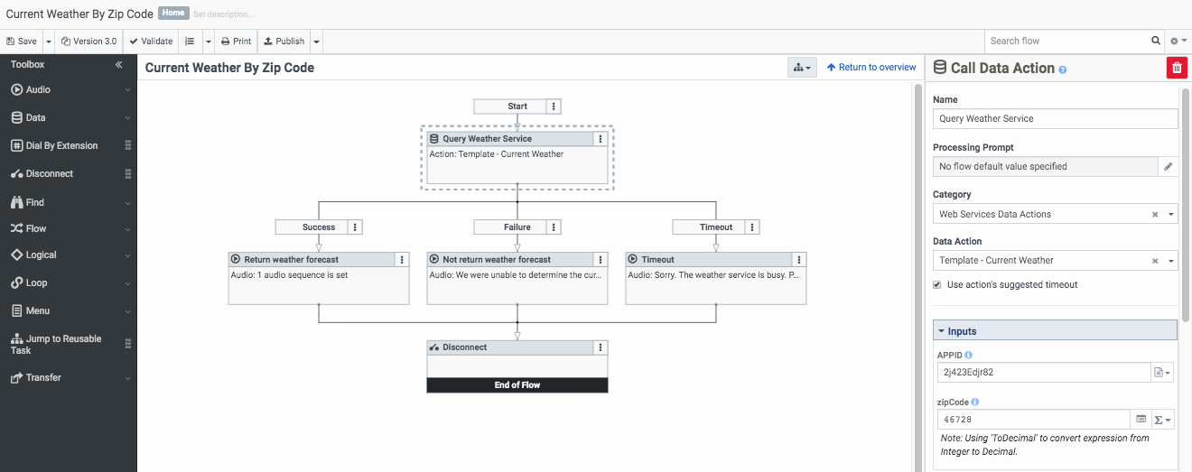 Example call flow for the web services data actions integration