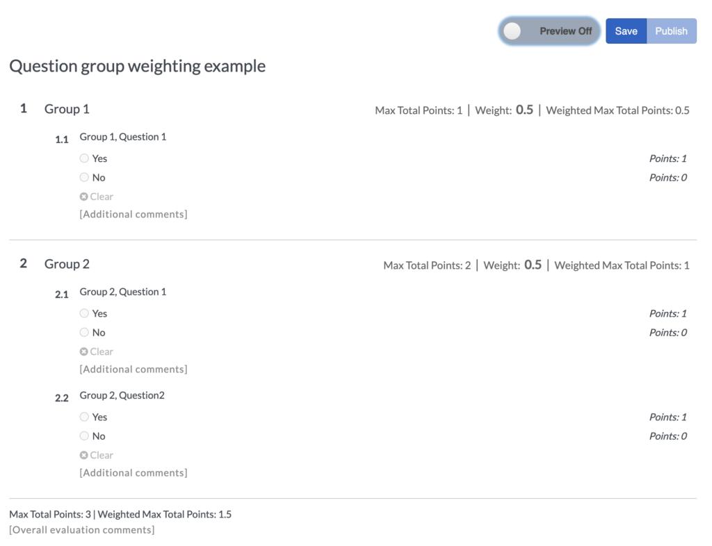 評価フォーム質問グループ weights