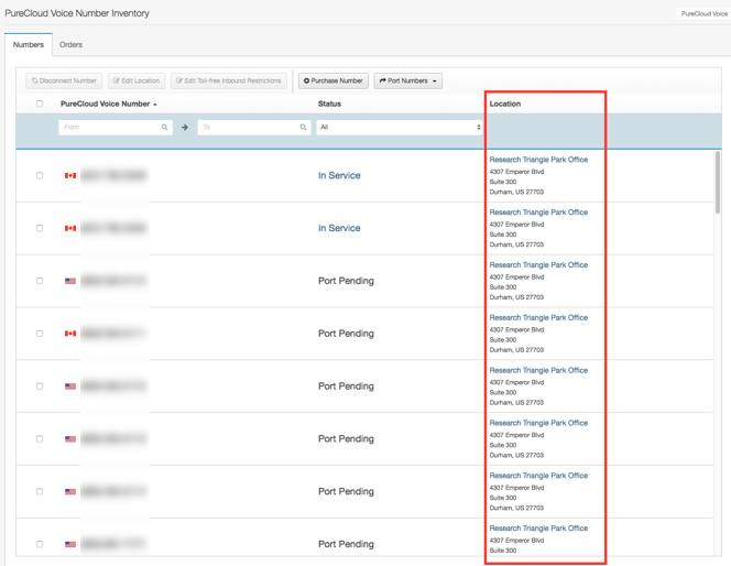 Edit the location for a PureCloud Voice number - PureCloud Resource