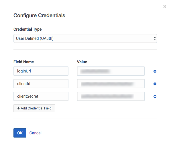 Configure Credentials for User Defined (OAuth)
