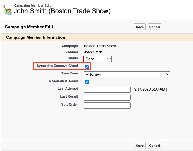 Campaign member record in Salesforce
