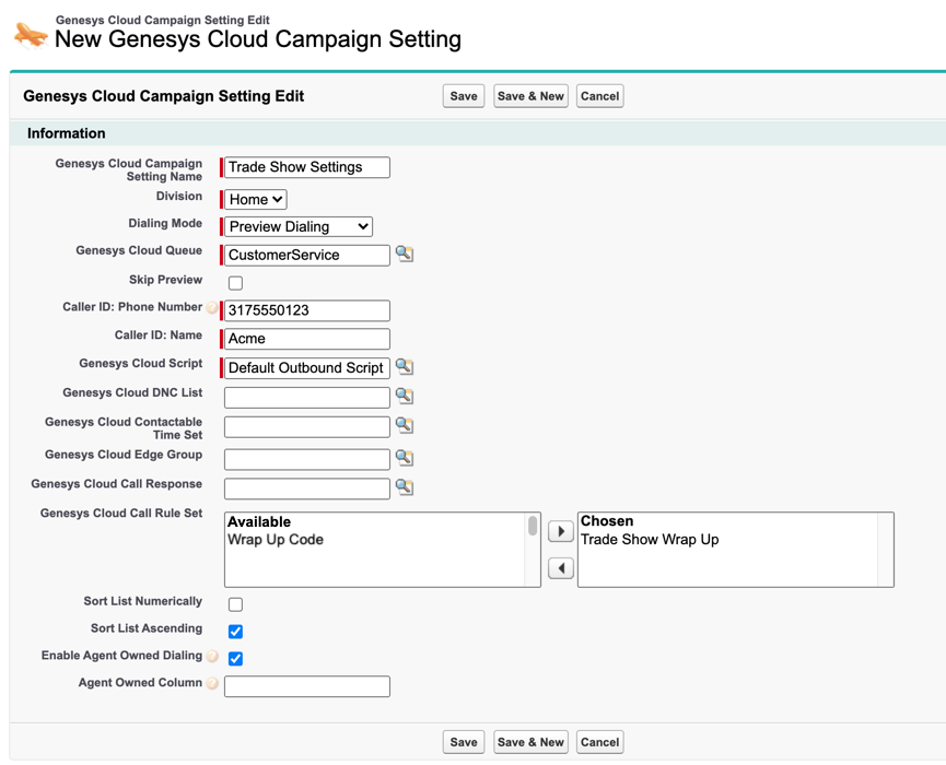 Genesys Cloud campaign setting in Salesforce