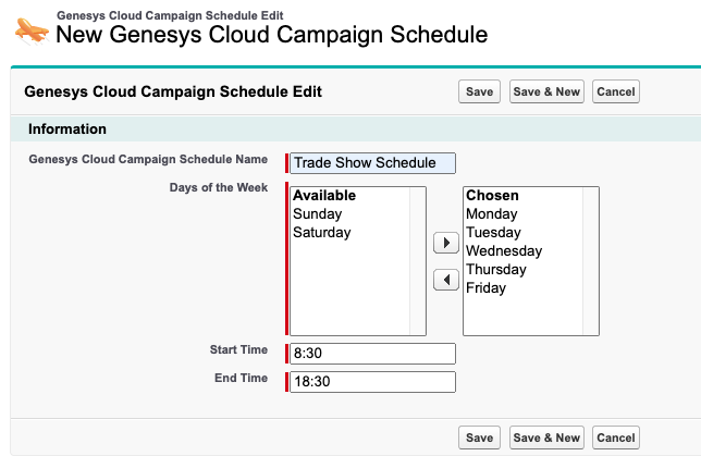 create a campaign schedule in purecloud for salesforce purecloud
