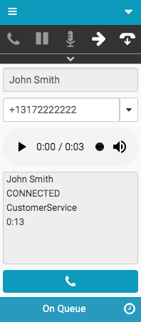 Window with voicemail recording and callback numbers