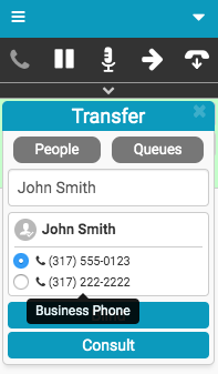 Transfer window with multiple numbers for person