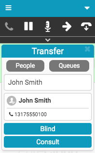 Transfer window with person's number