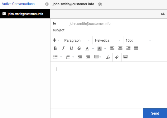 Interactions window with email interaction