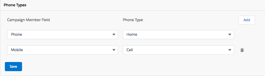 Select phone number fields and phone types