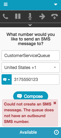 Error message about queue lacking an outbound sms number