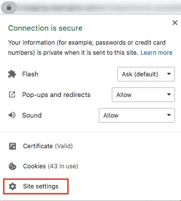 Chrome site settings