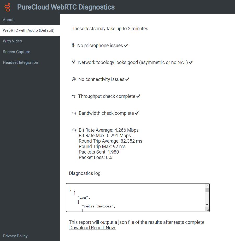 Run the PureCloud WebRTC Diagnostics app - PureCloud