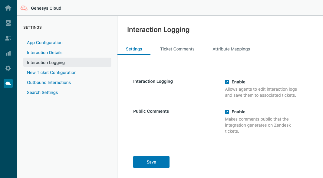 Settings for Interaction Logging in PureCloud for Zendesk