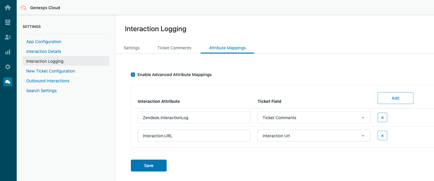 Attribute Mappings for Interaction Logging in Genesys Cloud for Zendesk
