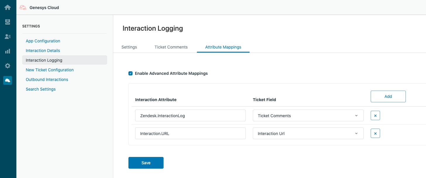 PureCloud for Zendeskインタラクションロギングの属性マッピング