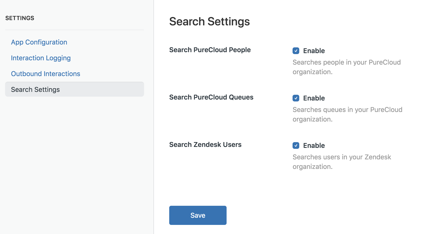 Search Settings in PureCloud for Zendesk