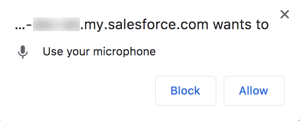 Chrome dialog about sharing your microphone