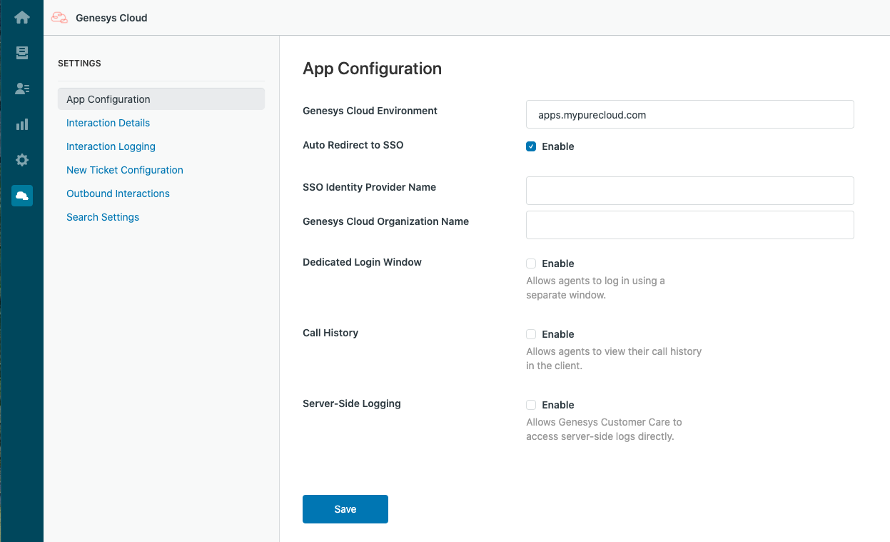 App Configuration settings in Zendesk
