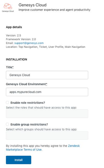 Installation window for PureCloud for Zendesk