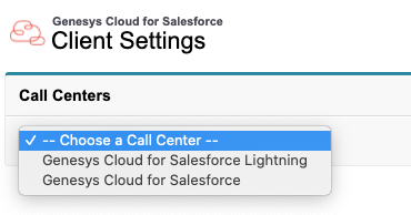 Call center selection in Genesys Cloud for Salesforce