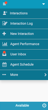 Client menu with notifications