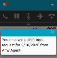 New shift trade request notification dialog in the client