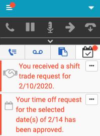 クライアントでの新しいシフト取引と休暇申請通知