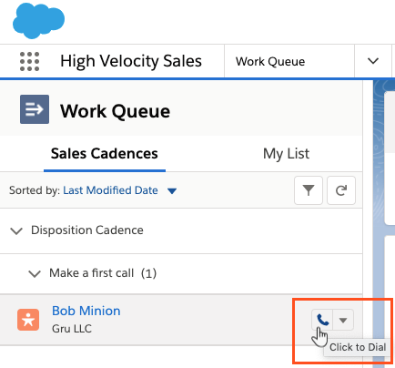 Click-to-dial in High Velocity Sales