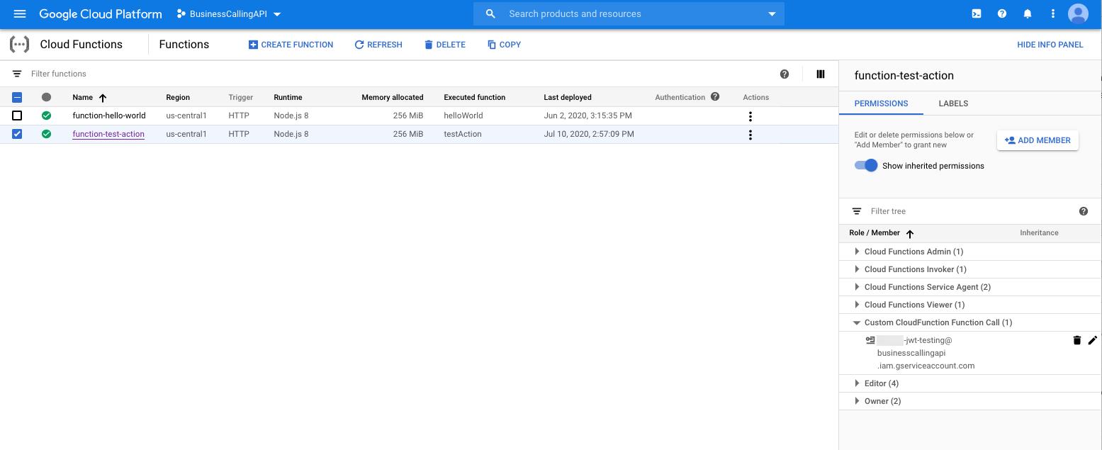 Función de Google Cloud con un función asignado