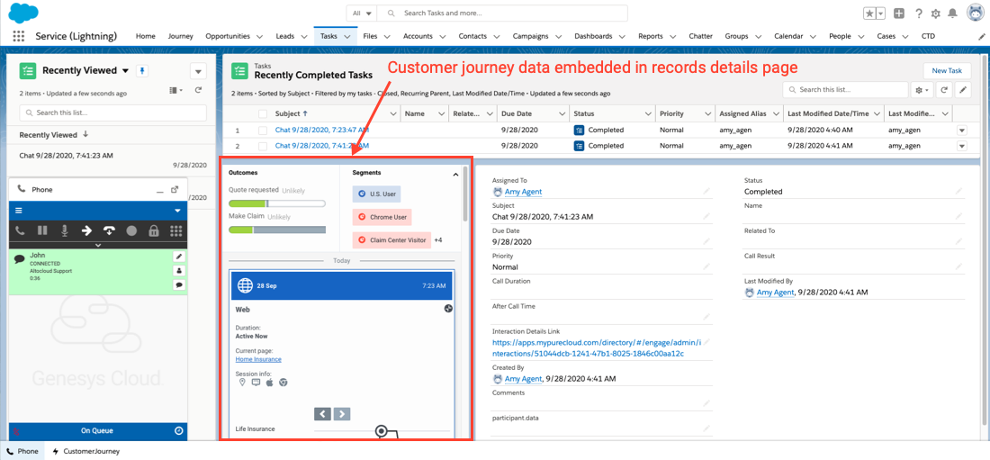 Customer journey data embedded in records detail page