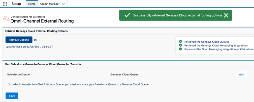 The package settings configuration in Genesys Cloud for Salesforce External Routing.